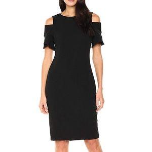 Calvin Klein Black Cold Shoulder Cutout Midi Dress